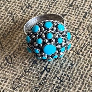 Zuni Turquoise &Sterling Petit Point Ring Size 7.5